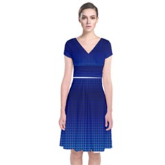Blue Dot Short Sleeve Front Wrap Dress by PhotoNOLA