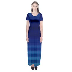 Blue Dot Short Sleeve Maxi Dress by PhotoNOLA