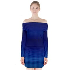 Blue Dot Long Sleeve Off Shoulder Dress by PhotoNOLA