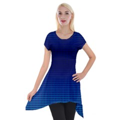 Blue Dot Short Sleeve Side Drop Tunic by PhotoNOLA