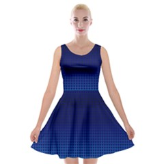 Blue Dot Velvet Skater Dress by PhotoNOLA