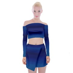 Blue Dot Off Shoulder Top With Skirt Set by PhotoNOLA
