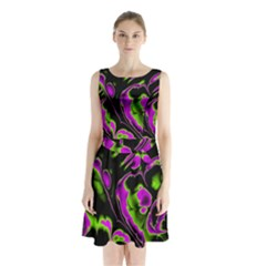 Glowing Fractal B Sleeveless Chiffon Waist Tie Dress by Fractalworld