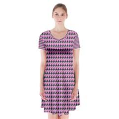 Pattern Grid Background Short Sleeve V Neck Flare Dress by Nexatart