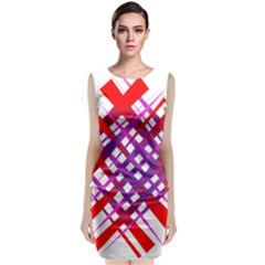 Chaos Bright Gradient Red Blue Classic Sleeveless Midi Dress by Nexatart