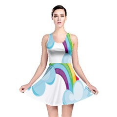 Could Rainbow Red Yellow Green Blue Purple Reversible Skater Dress