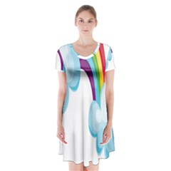 Could Rainbow Red Yellow Green Blue Purple Short Sleeve V Neck Flare Dress by Mariart