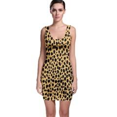 Cheetah Skin Spor Polka Dot Brown Black Dalmantion Sleeveless Bodycon Dress by Mariart