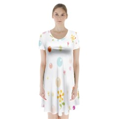 Flower Floral Star Balloon Bubble Short Sleeve V Neck Flare Dress by Mariart
