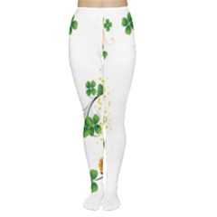 Flower Shamrock Green Gold Women s Tights by Mariart