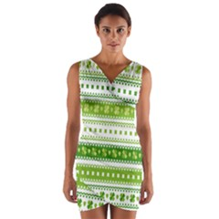 Flower Floral Green Shamrock Wrap Front Bodycon Dress by Mariart