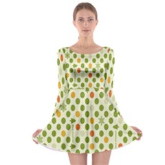 Merry Christmas Polka Dot Circle Snow Tree Green Orange Red Gray Long Sleeve Skater Dress by Mariart