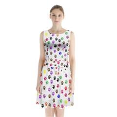 Paw Prints Dog Cat Color Rainbow Animals Sleeveless Chiffon Waist Tie Dress by Mariart