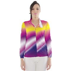 Rainbow Space Red Pink Purple Blue Yellow White Star Wind Breaker (women) by Mariart