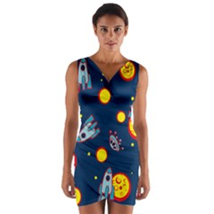 Rocket Ufo Moon Star Space Planet Blue Circle Wrap Front Bodycon Dress by Mariart