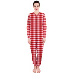 Plaid Red White Line Onepiece Jumpsuit (ladies)  by Mariart