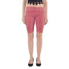 Plaid Red White Line Yoga Cropped Leggings by Mariart