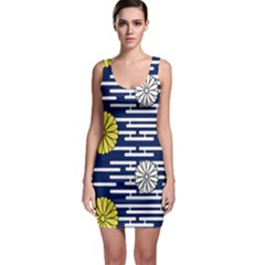 Sunflower Line Blue Yellpw Sleeveless Bodycon Dress by Mariart