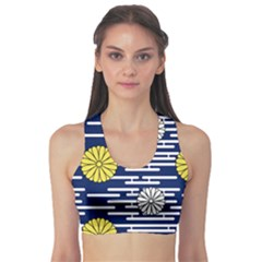 Sunflower Line Blue Yellpw Sports Bra by Mariart