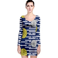 Sunflower Line Blue Yellpw Long Sleeve Bodycon Dress by Mariart