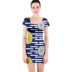 Sunflower Line Blue Yellpw Short Sleeve Bodycon Dress by Mariart