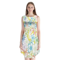Star Flower Rainbow Sunflower Sakura Sleeveless Chiffon Dress   by Mariart