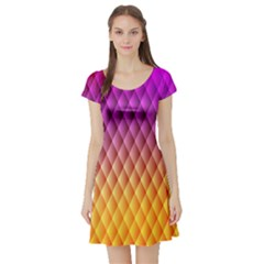 Triangle Plaid Chevron Wave Pink Purple Yellow Rainbow Short Sleeve Skater Dress by Mariart