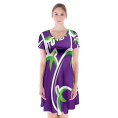 Vegetable Eggplant Purple Green Short Sleeve V Neck Flare Dress by Mariart