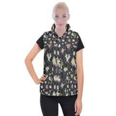Traditional Music Drum Batik Women s Button Up Puffer Vest by Mariart