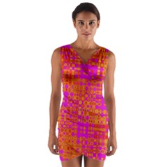 Pink Orange Bright Abstract Wrap Front Bodycon Dress by Nexatart