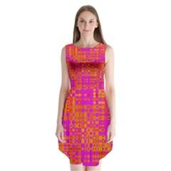 Pink Orange Bright Abstract Sleeveless Chiffon Dress   by Nexatart