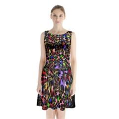 Network Integration Intertwined Sleeveless Chiffon Waist Tie Dress by Nexatart