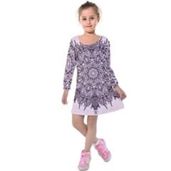 Sacred Art Shaman Shamanism Kids  Long Sleeve Velvet Dress
