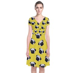 Pug Dog Pattern Short Sleeve Front Wrap Dress by Valentinaart