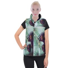 Out Of Time Glass Pearl Flowag Women s Button Up Puffer Vest by Nexatart