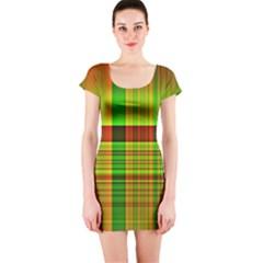 Multicoloured Background Pattern Short Sleeve Bodycon Dress by Nexatart