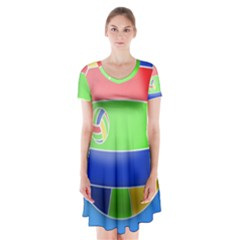 Balloon Volleyball Ball Sport Short Sleeve V Neck Flare Dress by Nexatart
