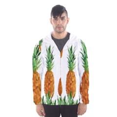 Pineapple Print Polygonal Pattern Hooded Wind Breaker (men) by Nexatart