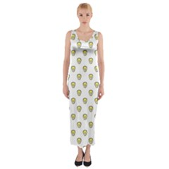 Angry Emoji Graphic Pattern Fitted Maxi Dress by dflcprintsclothing