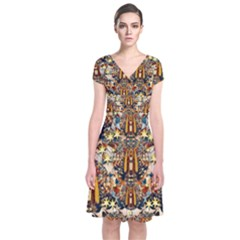 Lady Panda Goes Into The Starry Gothic Night Short Sleeve Front Wrap Dress by pepitasart