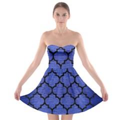 Tile1 Black Marble & Blue Brushed Metal (r) Strapless Bra Top Dress by trendistuff