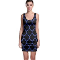 Tile1 Black Marble & Blue Brushed Metal Bodycon Dress by trendistuff