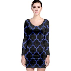 Tile1 Black Marble & Blue Brushed Metal Long Sleeve Bodycon Dress by trendistuff