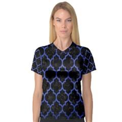 Tile1 Black Marble & Blue Brushed Metal V Neck Sport Mesh Tee by trendistuff