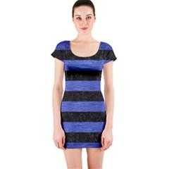 Stripes2 Black Marble & Blue Brushed Metal Short Sleeve Bodycon Dress by trendistuff