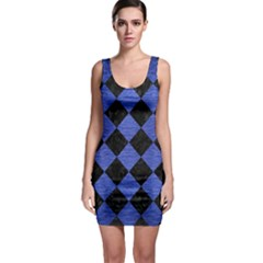 Square2 Black Marble & Blue Brushed Metal Bodycon Dress