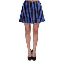 Skin4 Black Marble & Blue Brushed Metal Skater Skirt by trendistuff