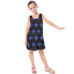 Royal1 Black Marble & Blue Brushed Metal (r) Kids  Sleeveless Dress by trendistuff