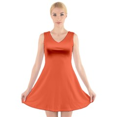 Trendy Basics   Trend Color Flame V Neck Sleeveless Skater Dress by tarastyle