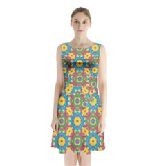 Geometric Check Multicolored Pattern Sleeveless Chiffon Waist Tie Dress by dflcprintsclothing